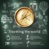 Cartel del World Travel con el compás Fotografía de archivo libre de regalías