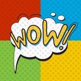 Cartel del wow en estilo del arte pop ilustración del vector