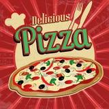 Cartel delicioso del vintage de la pizza Fotografía de archivo libre de regalías