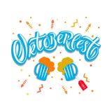 Cartel dibujado mano de las letras de la tipografía de Oktoberfest Ilustración del Vector