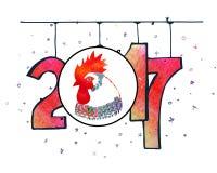 Cartel dibujado mano del Año Nuevo de la acuarela Foto de archivo