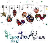 Cartel dibujado mano del Año Nuevo de la acuarela Foto de archivo libre de regalías