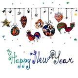 Cartel dibujado mano del Año Nuevo de la acuarela Fotos de archivo