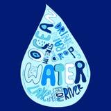 Cartel dibujado mano del agua Fotografía de archivo
