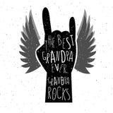 Cartel dibujado mano del día de los abuelos Imagenes de archivo