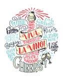 Cartel divertido de la tipografía con cita sobre el vino, poniendo letras en botella Imagen de archivo libre de regalías