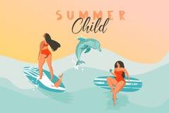 Cartel divertido exhausto del ejemplo del tiempo de verano del extracto del vector de la mano con las muchachas de la persona que stock de ilustración