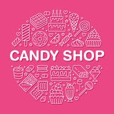 Cartel dulce de la ronda de la comida con la línea plana iconos Ejemplos del vector de los pasteles - piruleta, barra de chocolat libre illustration