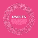 Cartel dulce de la ronda de la comida con la línea plana iconos Ejemplos del vector de los pasteles - piruleta, barra de chocolat stock de ilustración