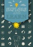 Cartel educativo con símbolos de la ciencia Foto de archivo