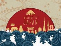 Cartel elegante del viaje de Japón stock de ilustración