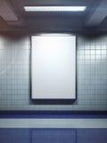Cartel en blanco blanco de la cartelera interior foto de archivo libre de regalías