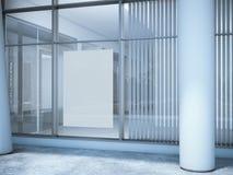 Cartel en blanco blanco en la ventana de la oficina Fotografía de archivo