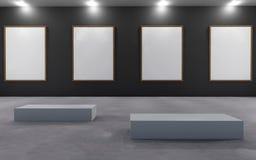 Cartel en blanco de la exposición y pared trasera en espacio Imágenes de archivo libres de regalías