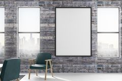 Cartel en blanco en sitio del desván stock de ilustración