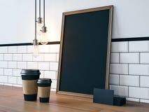 Cartel en la tabla con los elementos en blanco representación 3d Fotos de archivo libres de regalías