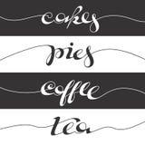 Cartel escrito mano del café Imagen de archivo libre de regalías