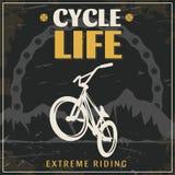 Cartel extremo del vintage del montar a caballo de BMX stock de ilustración