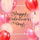 Cartel feliz de la tipografía del día de tarjetas del día de San Valentín con el texto manuscrito de la caligrafía libre illustration