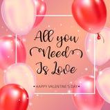 Cartel feliz de la tipografía del día de tarjetas del día de San Valentín con el texto manuscrito de la caligrafía ilustración del vector