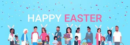 Cartel feliz de Pascua con la familia del grupo de personas que celebra el desgaste Bunny Ears Horizontal Banner del día de fiest ilustración del vector