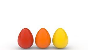 Cartel feliz de pascua, huevos realistas coloreados, fondo blanco, tarjeta del día de fiesta, Fotografía de archivo libre de regalías
