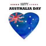 Cartel feliz del día de Australia Corazón de la acuarela con Australia la Florida stock de ilustración
