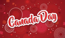 Cartel feliz del día de Canadá 1 de julio Tarjeta de felicitación del ejemplo del vector Hojas de arce de Canadá en el fondo blan