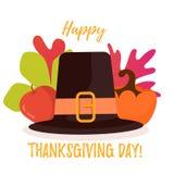 Cartel feliz del día de la acción de gracias Hojas, manzana y calabaza de otoño detrás del sombrero stock de ilustración