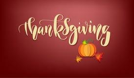 Cartel feliz dibujado mano de la tipografía de la acción de gracias Texto de la celebración con la calabaza y las hojas para la p imágenes de archivo libres de regalías