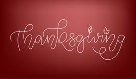 Cartel feliz dibujado mano de la tipografía de la acción de gracias Texto de la celebración con la calabaza y las hojas para la p fotografía de archivo
