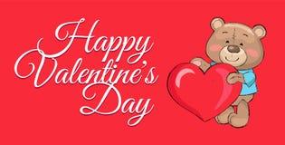 Cartel feliz Teddy Big Heart Symbol del día de tarjetas del día de San Valentín Imagen de archivo libre de regalías