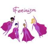 Cartel feminista con vector femenino de cuatro superheroines ilustración del vector
