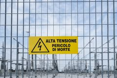 Power plant site. Cartel in the fence of a power plant with the indication of danger of death Royalty Free Stock Images