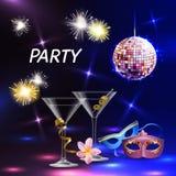 Cartel festivo de la celebración del partido Imagen de archivo libre de regalías