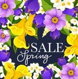 Cartel floral del manojo de las flores de la venta de la primavera del vector Foto de archivo libre de regalías