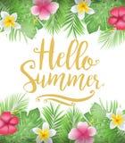 Cartel floral hermoso del verano del hola con las hojas y las flores tropicales ilustración del vector