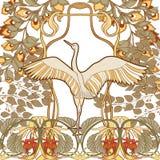 Cartel, fondo con las flores decorativas y pájaro en el estilo del art nouveau, vintage, viejo, retro estilo Fotos de archivo libres de regalías