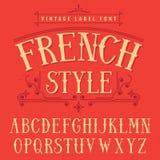 Cartel francés de la fuente de la etiqueta del estilo Fotos de archivo libres de regalías