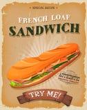Cartel francés del bocadillo del pan del Grunge y del vintage Imagen de archivo