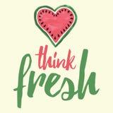 Cartel fresco de los pensamientos Dé el mensaje escrito con la sandía dibujada mano linda Foto de archivo libre de regalías