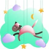 Cartel-gato métrico para el sitio del bebé, tarjetas de felicitación, niños y camisetas y desgaste, ejemplo del bebé del cuarto d libre illustration