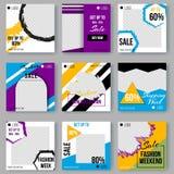 Cartel geométrico del anuncio de las formas fijado con colores modernos libre illustration