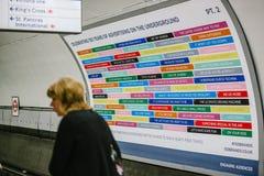 Cartel gigante del aniversario en el tubo de Londres Imagenes de archivo