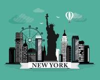 Cartel gráfico fresco del horizonte de New York City con los elementos de mirada retros del diseño detallado Paisaje de Nueva Yor Fotografía de archivo