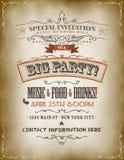 Cartel grande de la invitación del partido del vintage Foto de archivo