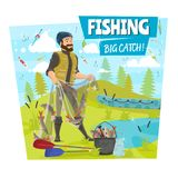 Cartel grande de la pesca y de la historieta de la captura de pescados del pescador stock de ilustración