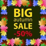 Cartel grande de la plantilla del diseño de la venta del otoño stock de ilustración