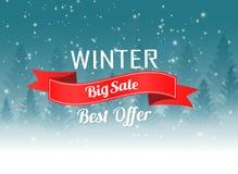 Cartel grande de la venta del invierno con el fondo del paisaje del invierno de la Navidad ilustración del vector