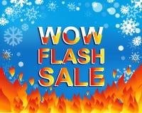 Cartel grande de la venta del invierno con el texto de la VENTA del FLASH del wow Bandera del vector de la publicidad ilustración del vector